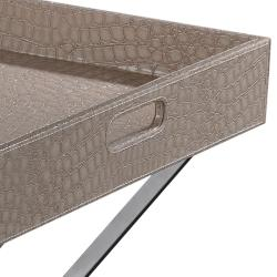 Cream Crocodile Pattern Square Tray Table
