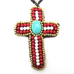 Innate Cross Mix Stone Brass Embellished Necklace (Thailand)