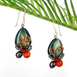 Enamored Radiant Butterfly Gray Shell Earrings (Thailand)