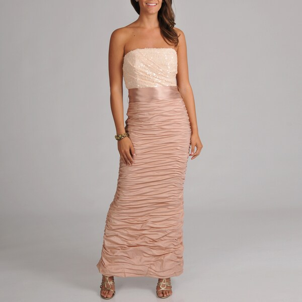 Women's Strapless Ruched Long Gown