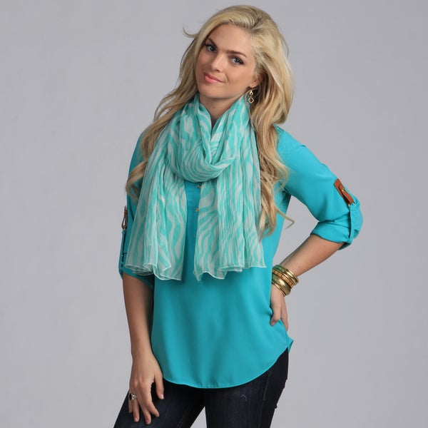Aqua Zebra Print Light Weight Scarf