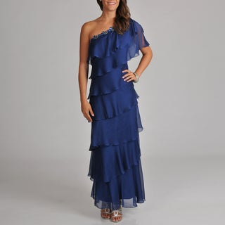Women's One Shoulder Embellished Trim Tiered Long Gown With Flutter Sleeve