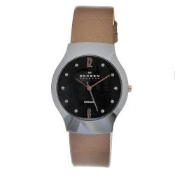 Skagen Women's Ceramic Black Dial Camel Leather Strap Watch