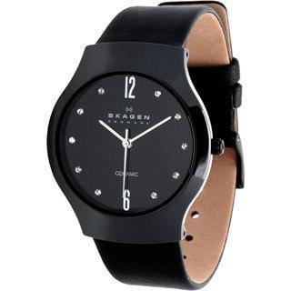 Skagen Women's 817SBLBC Ceramic Black Dial Black Leather Strap Watch