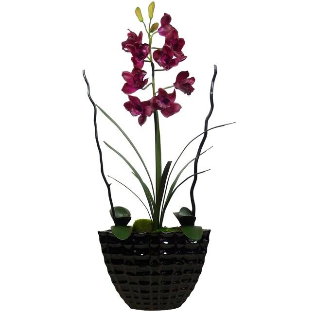 Laura Ashley Burgundy Silk Orchid Planter