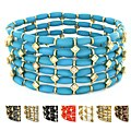 West Coast Jewelry Multicolor Bead with Crystal High-polish Stretch Bangle Bracelet