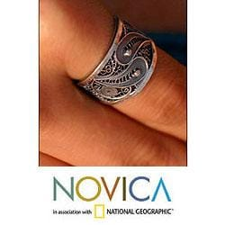 Sterling Silver 'Dark Andean Paisley' Filigree Ring (Peru)