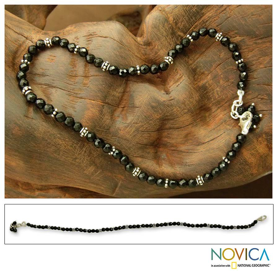 Sterling Silver 'Midnight Grace' Onyx Anklet (India)