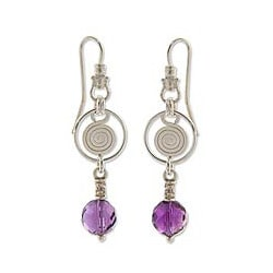 Silver 'Popocateptl Shadows' Amethyst Earrings (Mexico)
