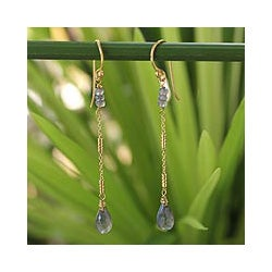 Gold Overlay 'Lanna Chimes' Labradorite Dangle Earrings (Thailand)