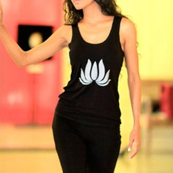 Rayon 'Divine Black Lotus' Jersey Knit Halter Top (Indonesia)