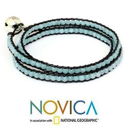 Silver 'Love's Innocence' Amazonite Leather Bracelet (Thailand)