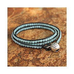 Silver 'Love's Innocence' Amazonite Leather Bracelet (Thailand)