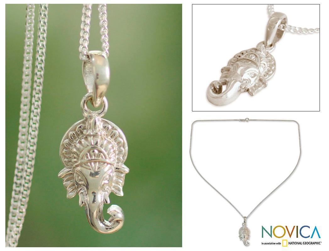 Sterling Silver 'Regal Ganesha' Necklace (India)