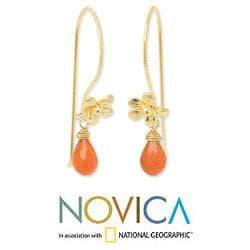 Gold Overlay 'Frangipani Splendor' Carnelian Earrings (Thailand)