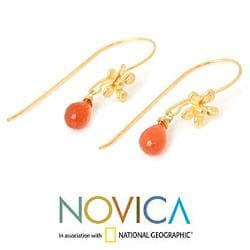 Gold Overlay 'Frangipani Splendor' Carnelian Earrings (Thailand)