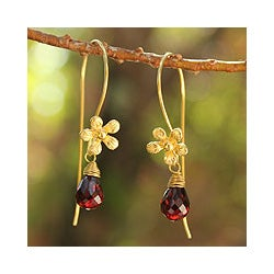 Gold Overlay 'Frangipani Splendor' Garnet Flower Earrings (Thailand)