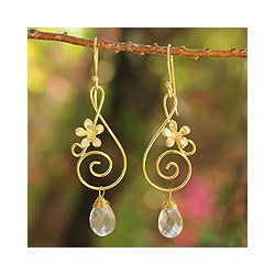 Gold Overlay 'Music Blossoms' Rose Quartz Flower Earrings (Thailand)