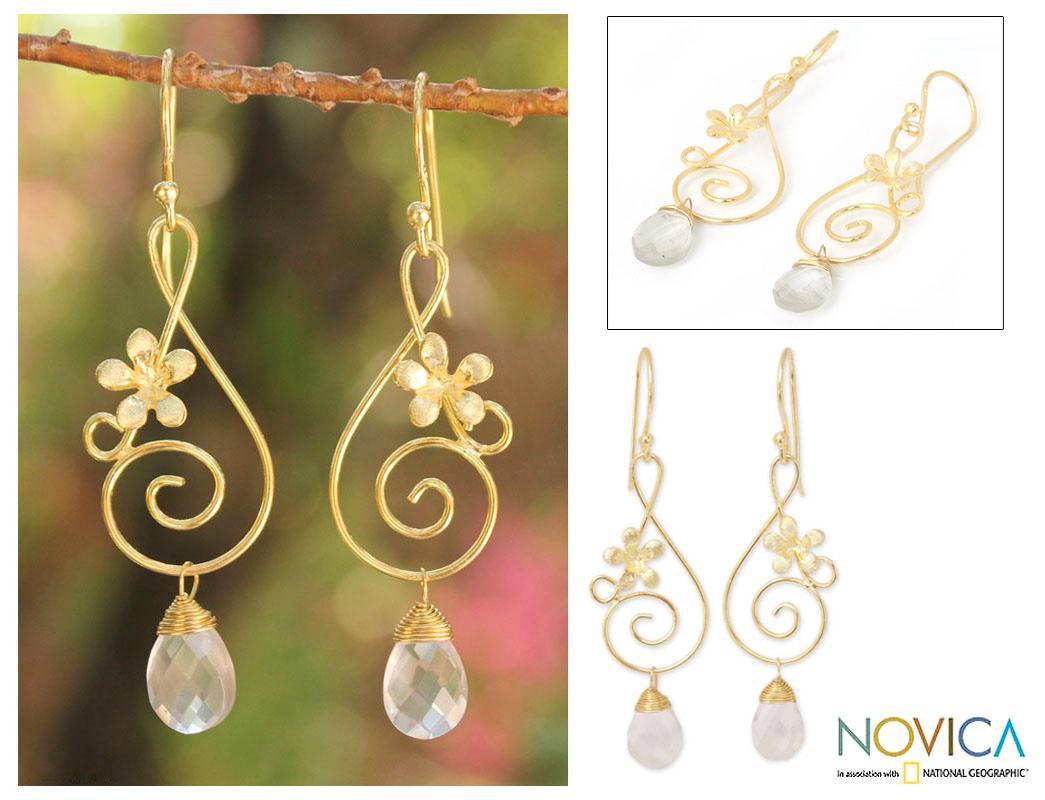 Gold Overlay 'Music Blossoms' Rose Quartz Flower Earrings (Thailand)