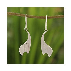 Sterling Silver 'Elephant Greeting' Dangle Earrings (Thailand)