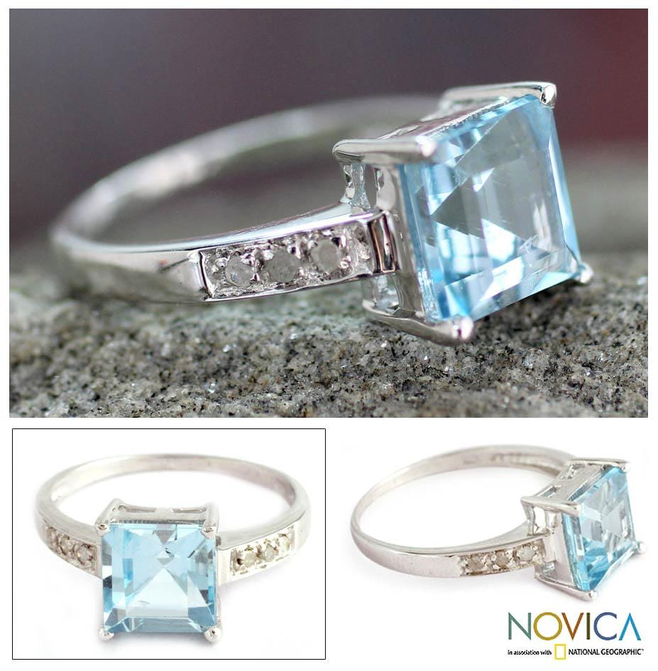 Sterling Silver 'Blue Sparkle' Diamond Accent Blue Topaz Ring (India)