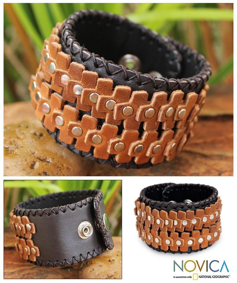 Handcrafted Leather Men's 'The Rhythm' Bracelet (Thailand)