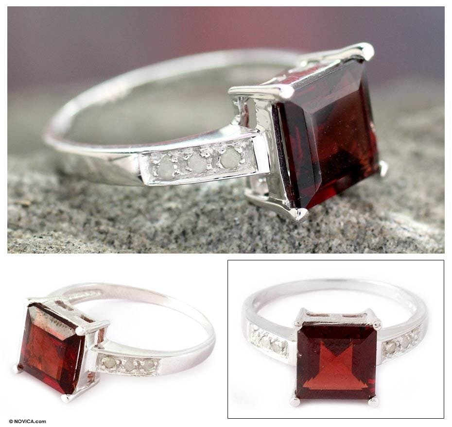 Sterling Silver 'Scarlet Sparkle' Diamond Accent Garnet Ring (India)