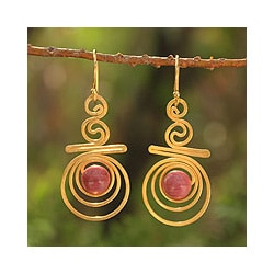 Gold Overlay 'Follow The Dream' Rhodonite Dangle Earrings (Thailand)