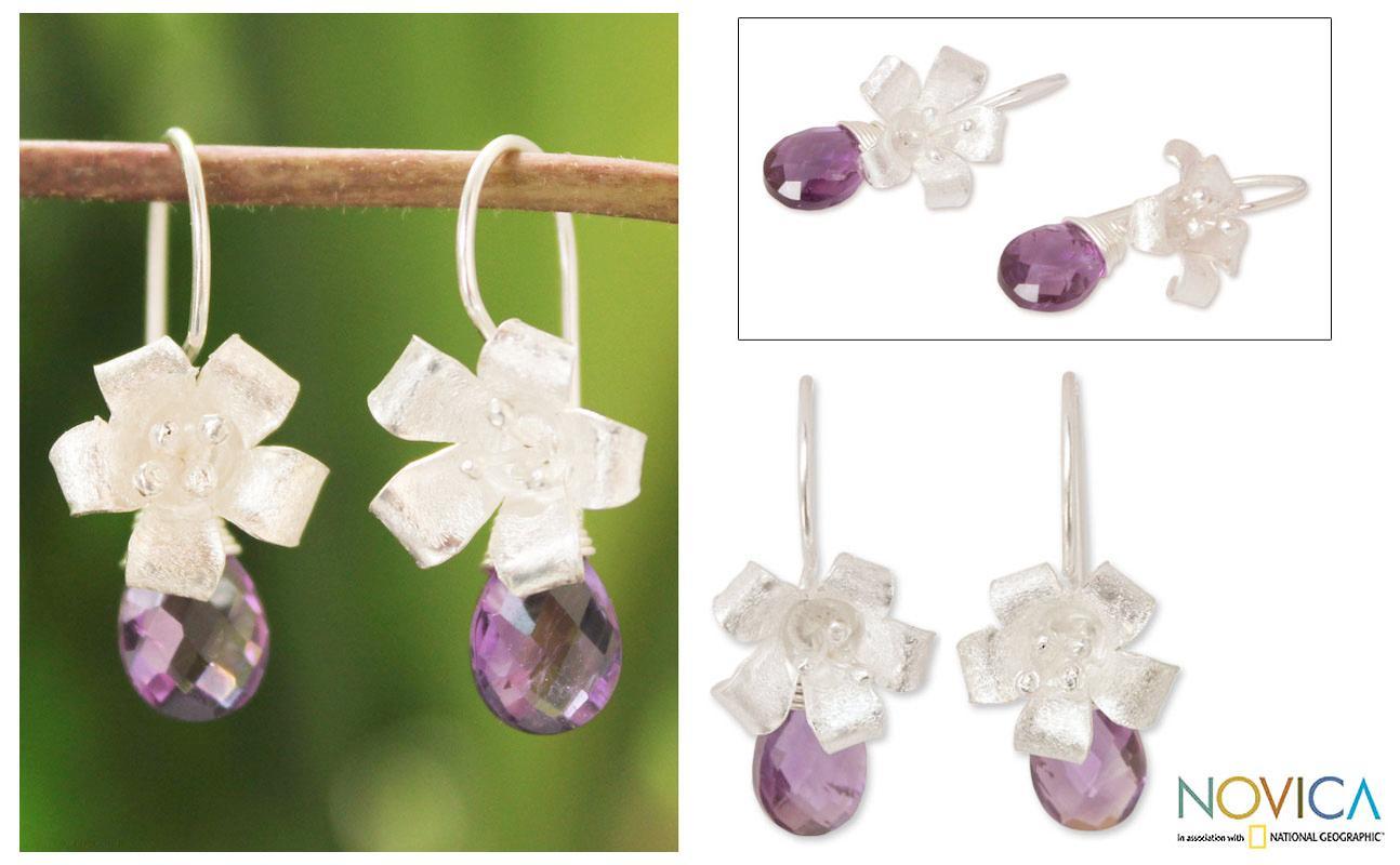 Sterling Silver 'Lily Splendor' Amethyst Flower Earrings (Thailand)