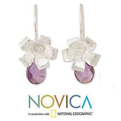 Sterling Silver 'Lily Splendor' Amethyst Flower Earrings (Thailand)