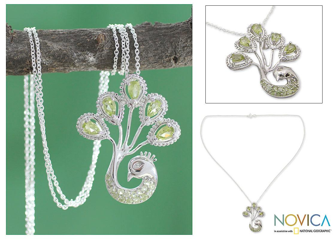Sterling Silver 'Joy of India' Peridot Necklace (India)