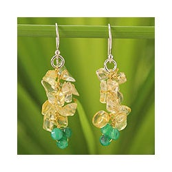 Sterling Silver 'Afternoon Sun' Citrine Agate Earrings (Thailand)