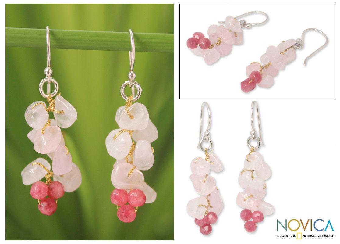 Sterling Silver 'Afternoon Pink' Rose Quartz Earrings (Thailand)