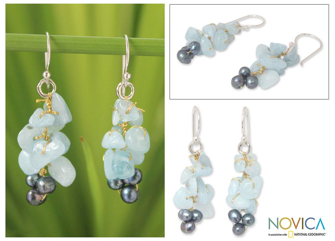 Silver 'Afternoon Sigh' Pearl Aquamarine Earrings (4 mm) (Thailand)