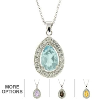 Dolce Giavonna Silver Overlay Gemstone and Cubic Zirconia Teardrop Necklace