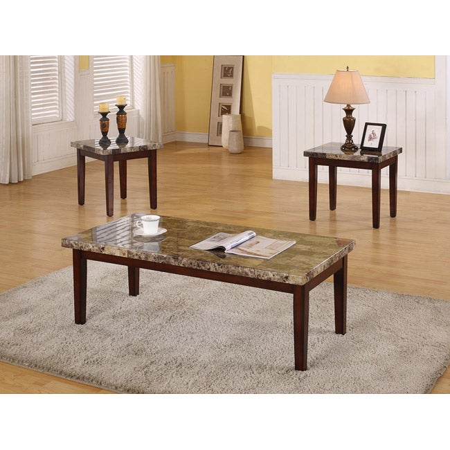 Ashley Mallacar Piece Coffee Table Set In Black T: Dark Faux Marble 3-piece Coffee Table Set