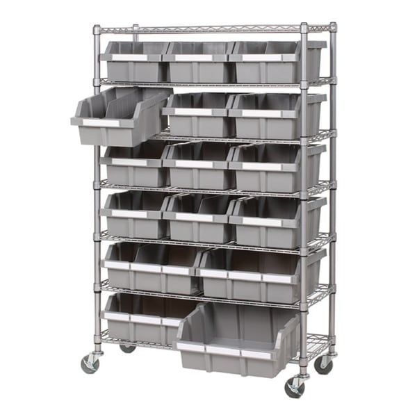 Seville Classics 7-shelf Commercial Bin Rack Storage System