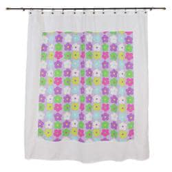 Mitered Happy Days Flower Cotton Shower Curtain