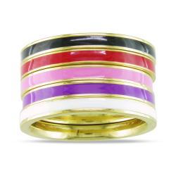 Five-Piece Set of Multi-Colored Enamel Rings