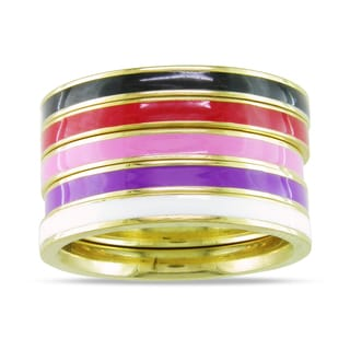 M by Miadora Five-Piece Set of Multi-Colored Enamel Rings
