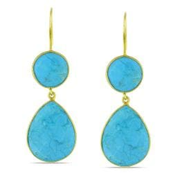 22-karat Gold-plated Silver/Checkerboard-cut Turquoise Dangle Earrings