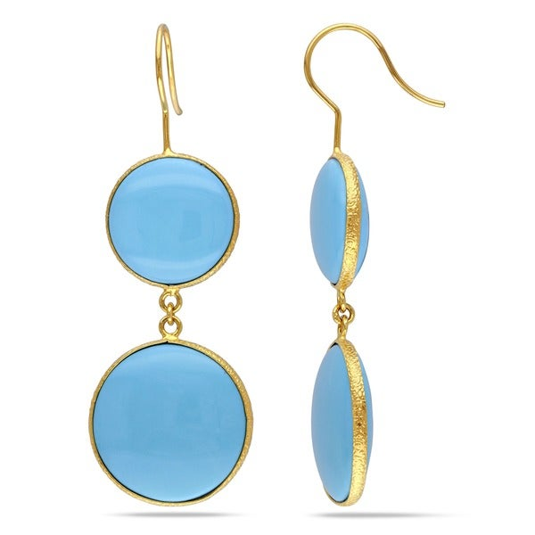 Miadora 22k Gold-plated Sterling Silver Turquoise Dangle Earrings