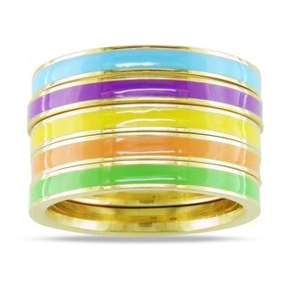 M by Miadora Five-Piece Set of Multi-Colored Enamel Rings