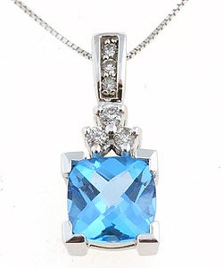 14k White Gold Blue Topaz & 1/6ct Diamond Pendant