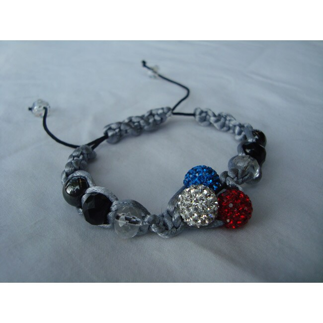 Handmade Macrame Red White and Blue Disco Ball Beads