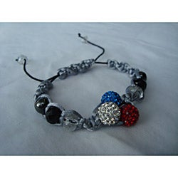 Handmade Macrame Red White and Blue Disco Ball Beads