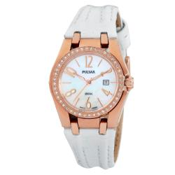 Pulsar Women's White Leather Strap Crystal-accented Watch