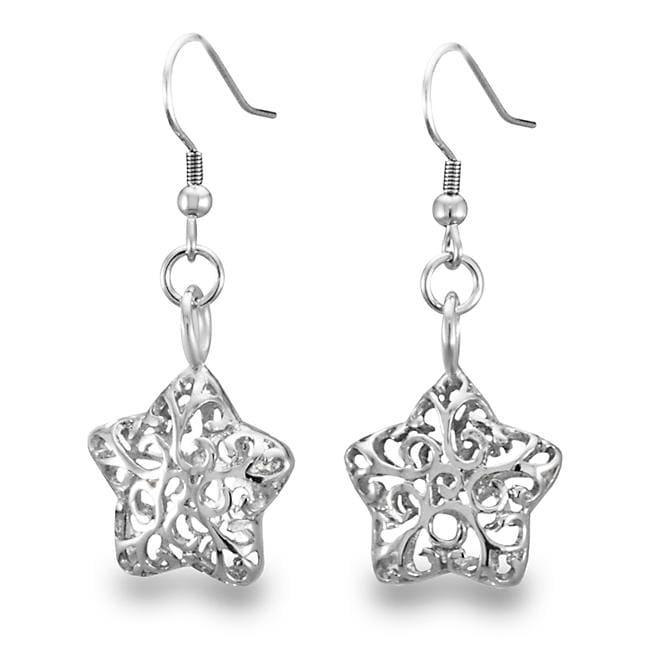 West Coast Jewelry Stainless Steel Filigree Cut-out Star Earrings