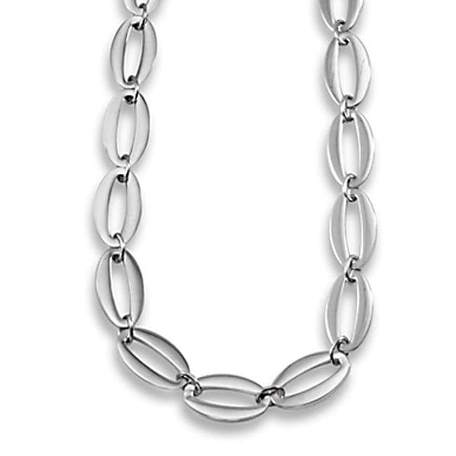 West Coast Jewelry Stainless Steel Polished Ovals Link Necklace