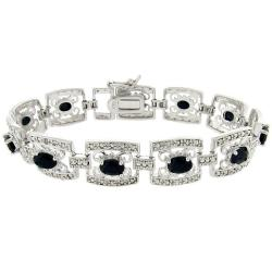 Dolce Giavonna Sterling Silver Sapphire and Diamond Accent Filigree Bracelet